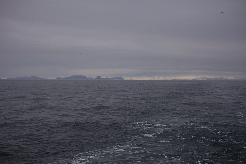 Overview towards SSE from a point 520 m north of confluence. Parry Islands to the left, confluence to the right