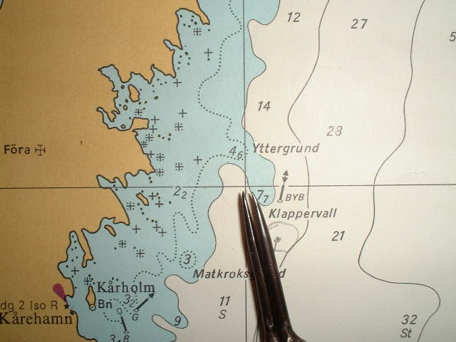 Navigational chart showing the bouy