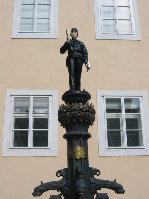 Fountain with Miner Statue