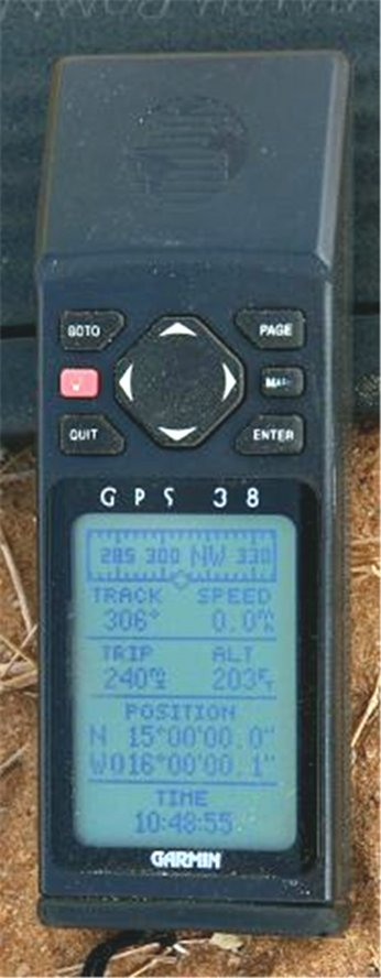 GPS reading on the site