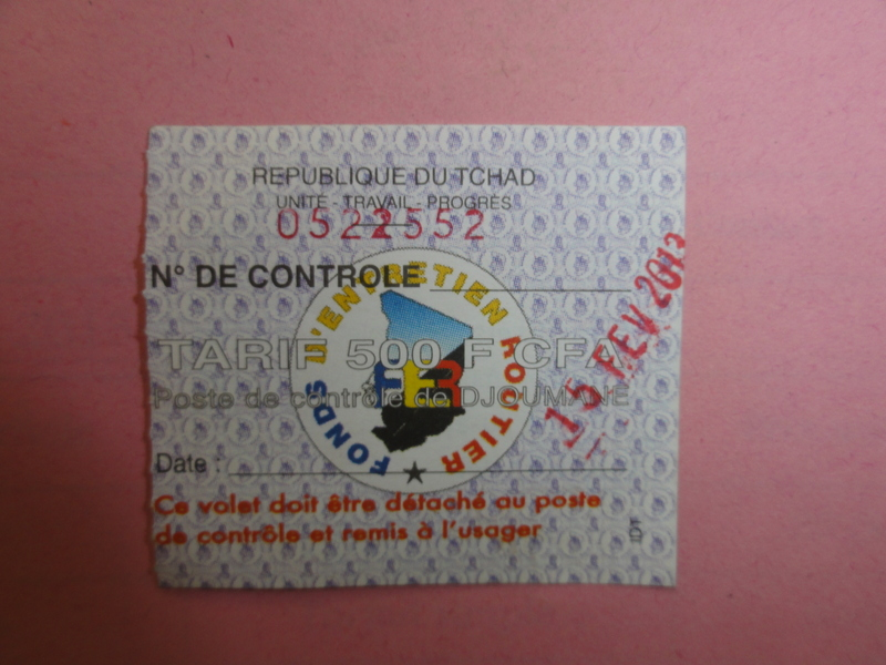 Ticket of the Djoumane Toll station