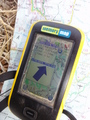 #6: GPS receiver screen and road map at closest point near the village of Kilim