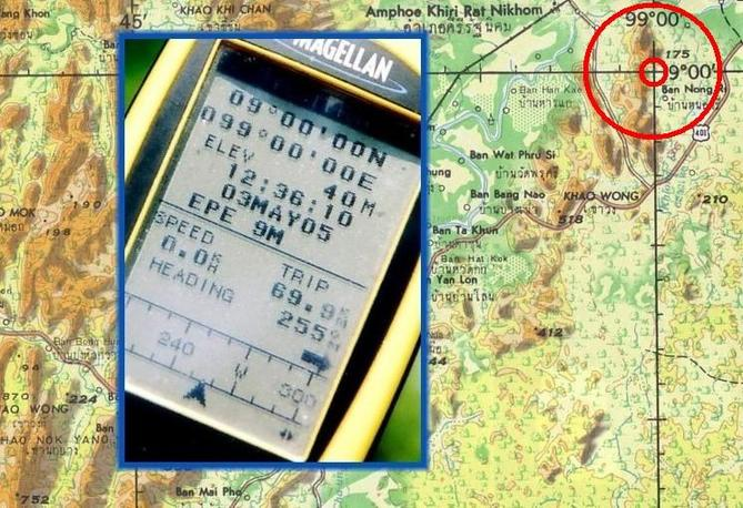 GPS reading and army map