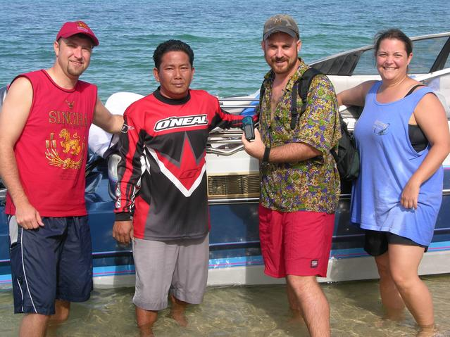 Sam, Captain Sakchai, Doug and Wendy with vessel