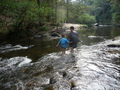 #5: Dit Ley and his boy on one of the river crossings.