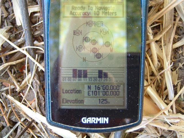 Close-up of GPS receiver showing coordinates
