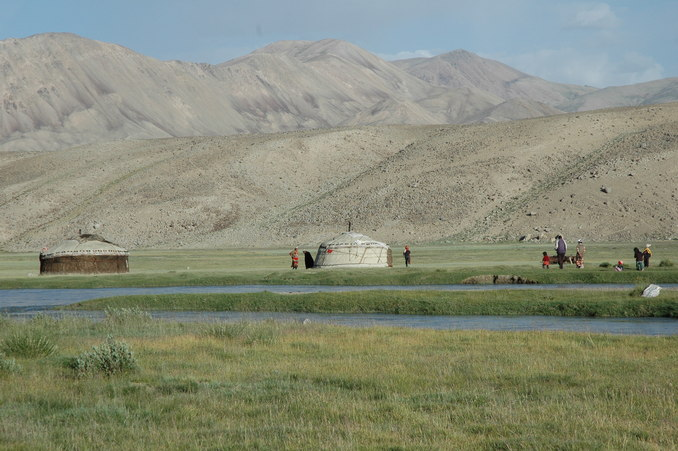 A Kyrgyz yert camp where we stopped to pick up some yogurt