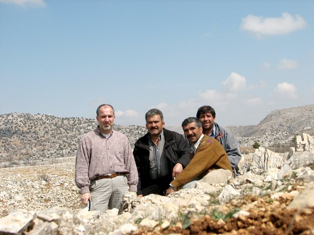 Me and the three men from Çukurbağ (from left: İbrahim, Yüksel, and Bilal) at the spot