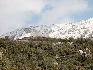#1: View east from Confluence - snow-covered mountains of the Dedegöl Dağları