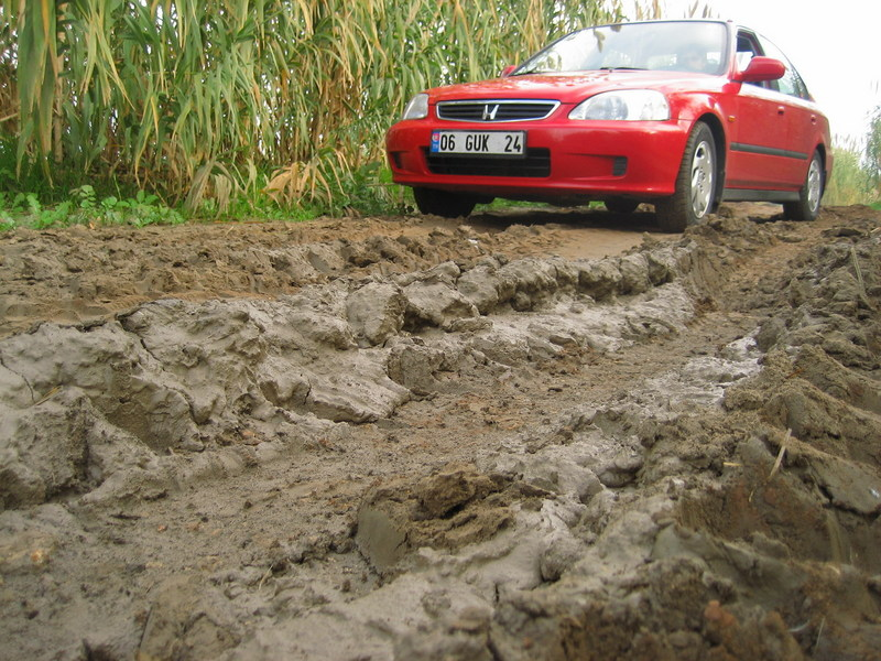 Driving over rough terrain, our car did really a good job!