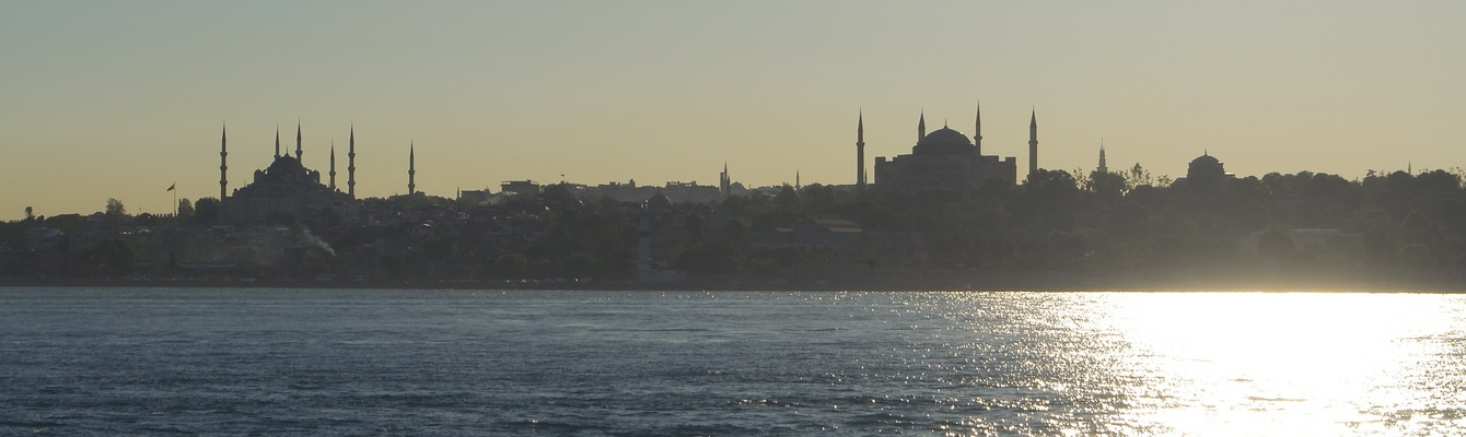 "View North (of İstanbul's famed ""Blue Mosque"" (on the left), and ""Hagia Sophia"" (on the right))"