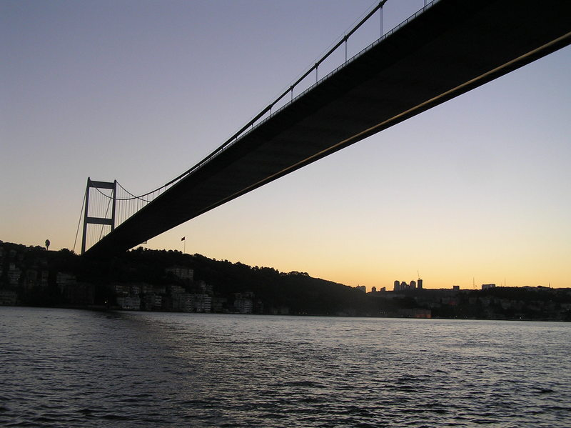 Under one of the two bridges spanning the Bosphorus.