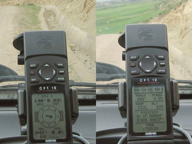 View of GPS device on the road