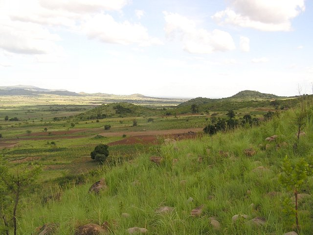 Looking south with the Serengeti through the mountains.