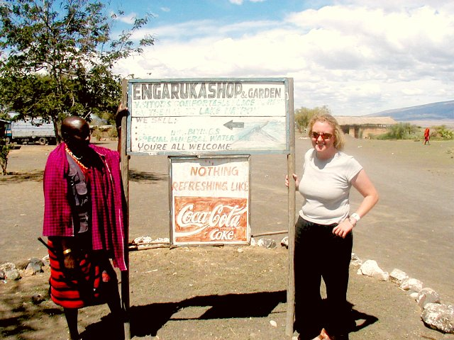 Sara with Chief outside his shop in Engaruka - Drop in for a soda if you are in the area!