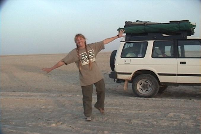 24N 54E, Lise dancing on the sabkha.
