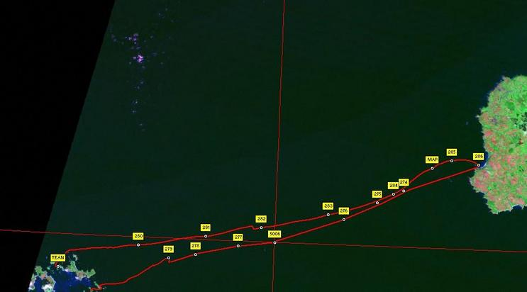Track of route to Scillies and back