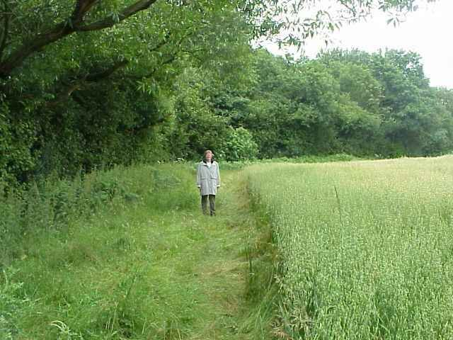 Jane in the wheat field with the confluence just behind her.