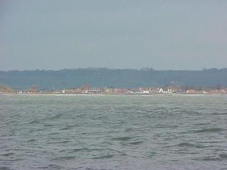 #1: View to the north at the south coast of England from the confluence point in the English Channel.