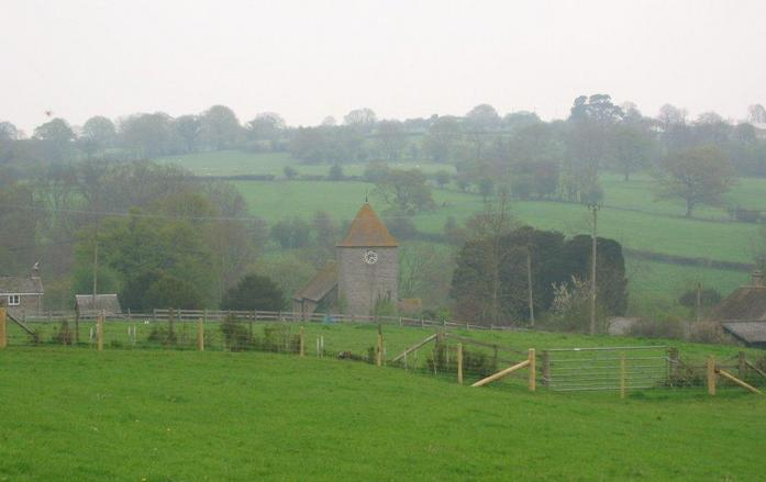 Taken from about 100m away, the church, Michaelchurch Escely