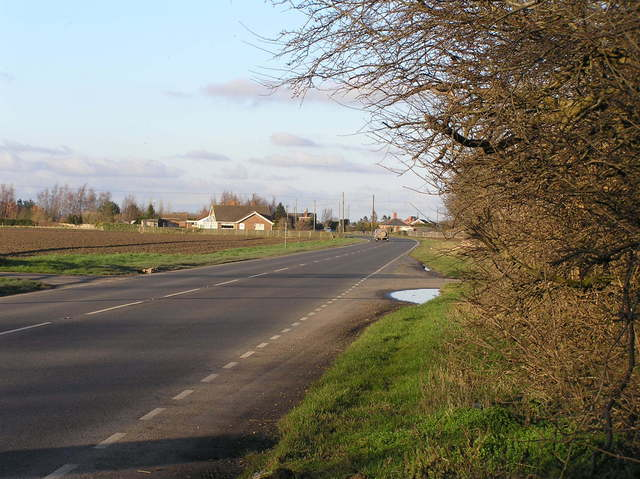 Nearest road to the confluence, Sibsey Road, the A16, looking north.