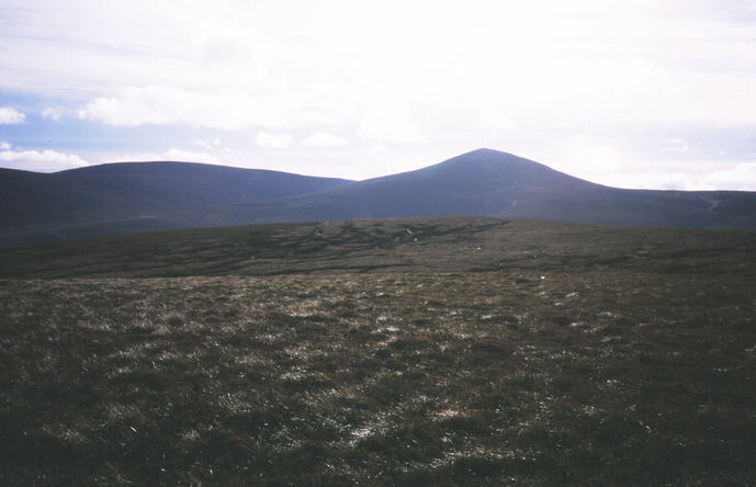 Monadh Caoin/Mount Keen (939m) from the Confluence. The drove road passes to the right of the summit cairn.