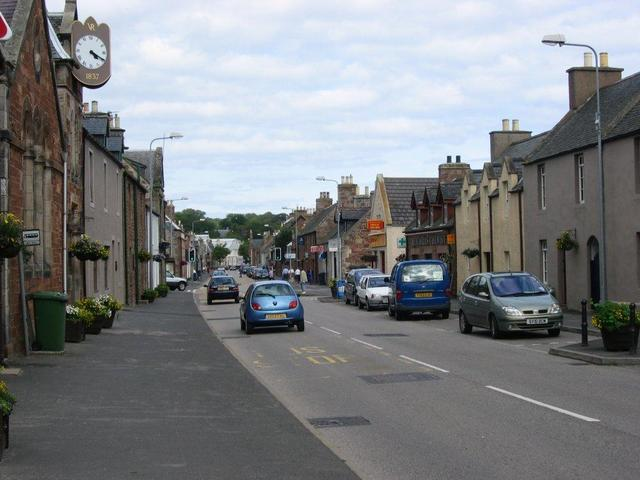 Golspie, the main street and road to the far North.