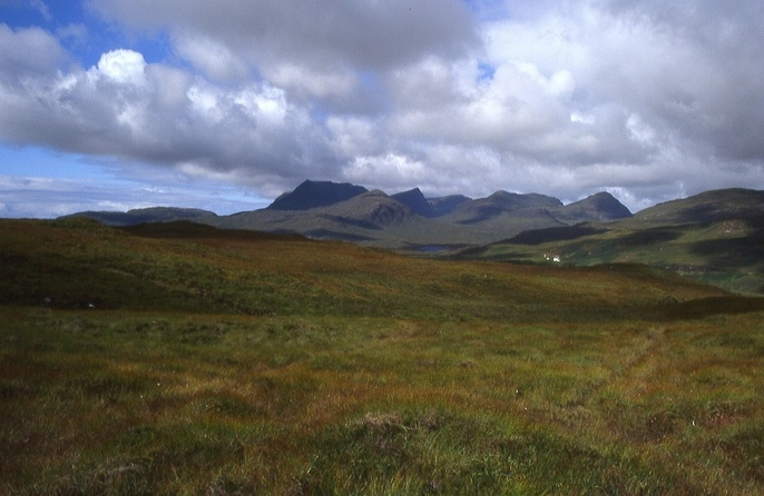 the silhouette of Ben Mor Coigach, west of the CP