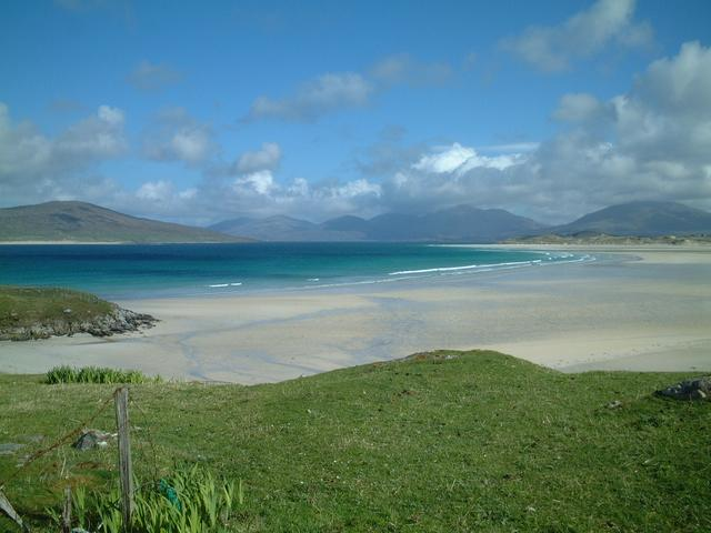 a beach view with Taransay in the background