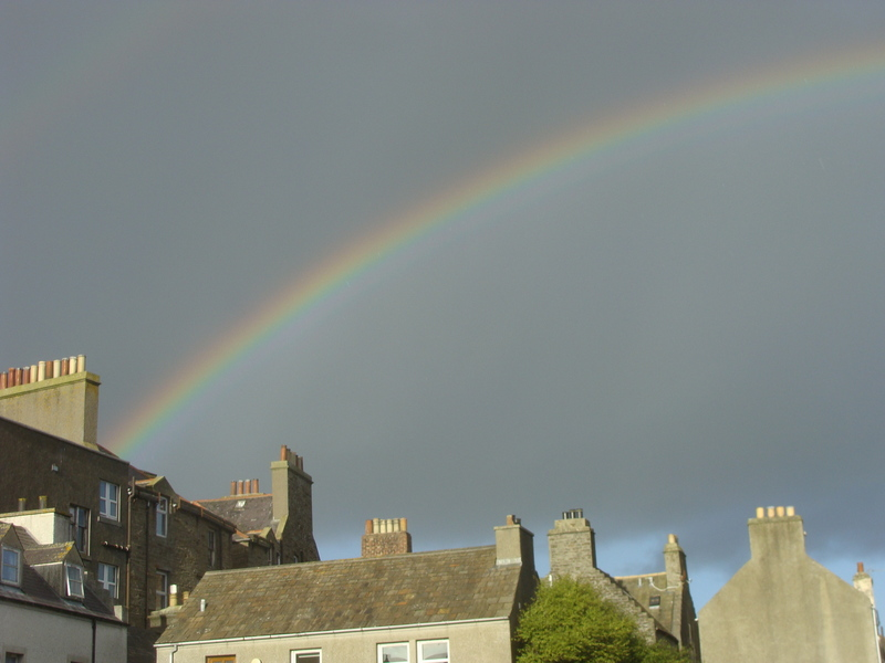 In between frequent bands of rain showers, this rainbow in the centre of Kirkwall points towards 59N 03W.