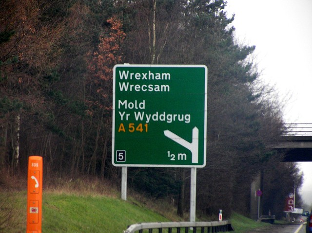 Wrexham sign on the motorway on the approach to the confluence.