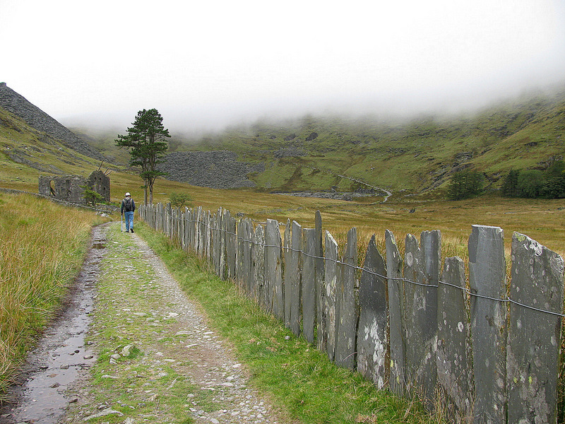 Approaching the chapel ruins on the slate lined path as the clouds descend.