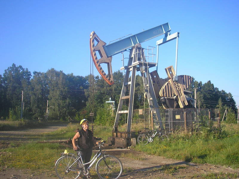 Tamara near oil pump