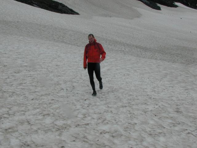 Doug traversing snow field