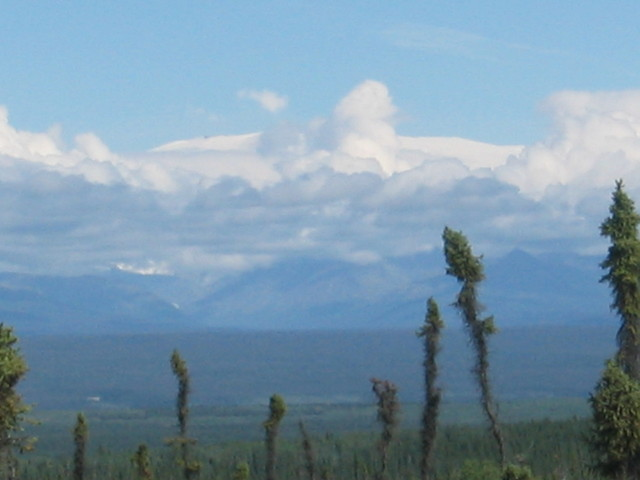 Closest point to the confluence.  Mt. Wrangell is wide white mountain above the clouds.