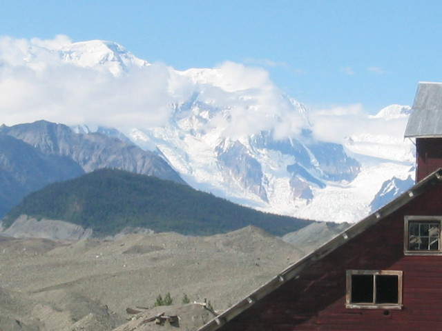 Mine at town of Kennicott, with Wrangell/St. Elias peaks in background.
