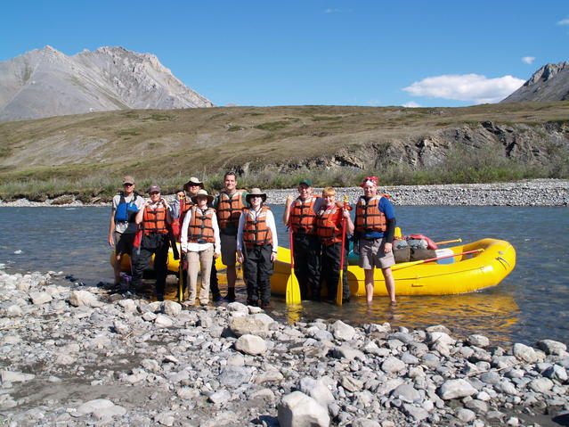68.98529N 142.18087W:  the group at the put-in point on the Kongakut River.