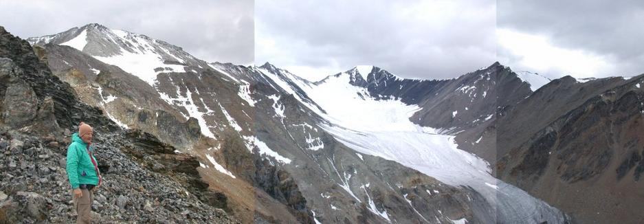 View South and west from confluence ridge to remnant glacier.