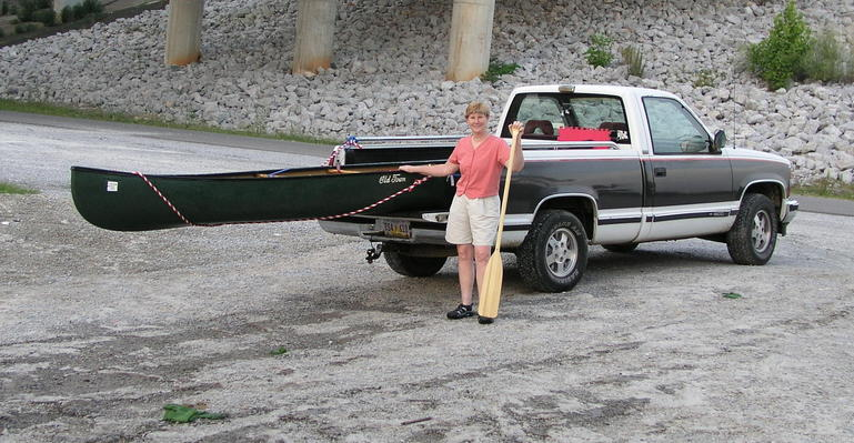 The long [canoe] and short [truck] of it:  confluence hunting on the Coosa River in Gadsden, Alabama.