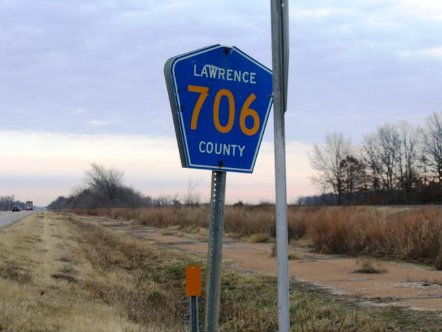 Sign for Lawrence County Road 706