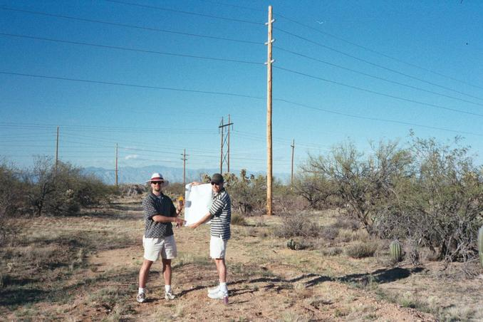Paul and Andy with the map under the power lines.