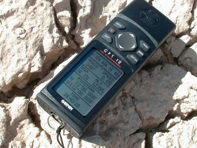 The GPS on the ground in its natural dry state