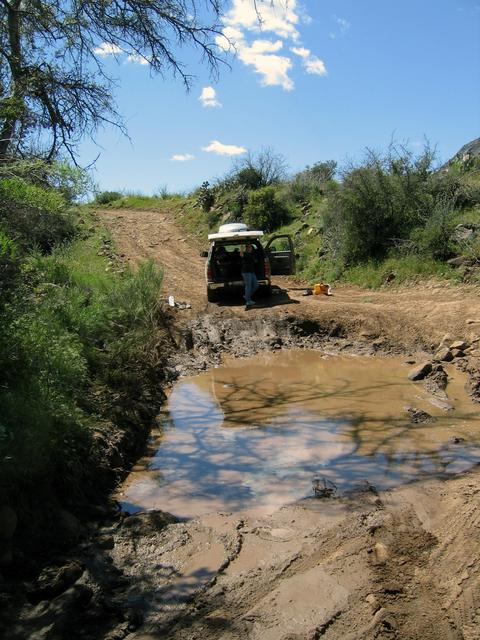 Deep mud pit obstacle along Road 41