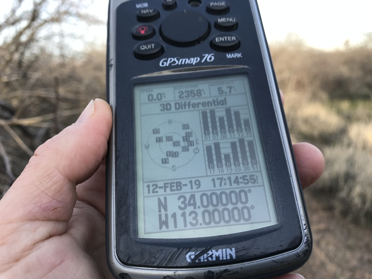 GPS receiver at the confluence point.