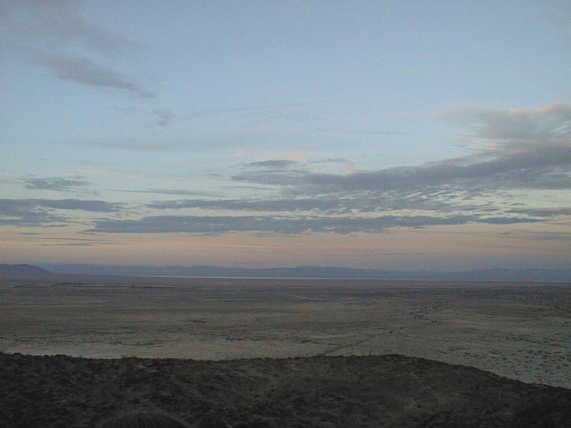 View north from Confluence, showing the narrow band of the Salton Sea
