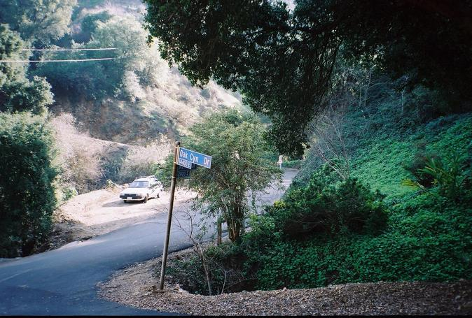 A close-up view of the junction of Oak Canyon and Athel Drives - close to the confluence