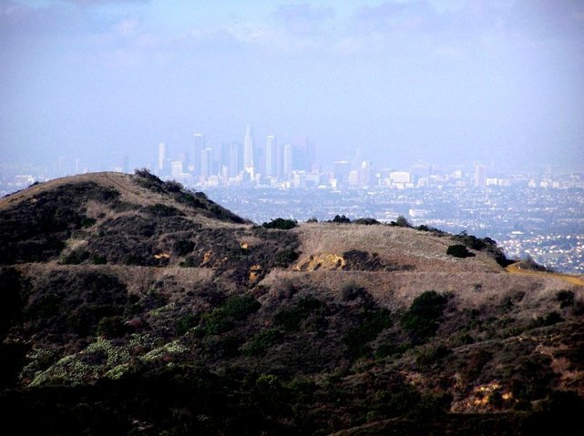 Downtown Los Angeles from the canyon hills