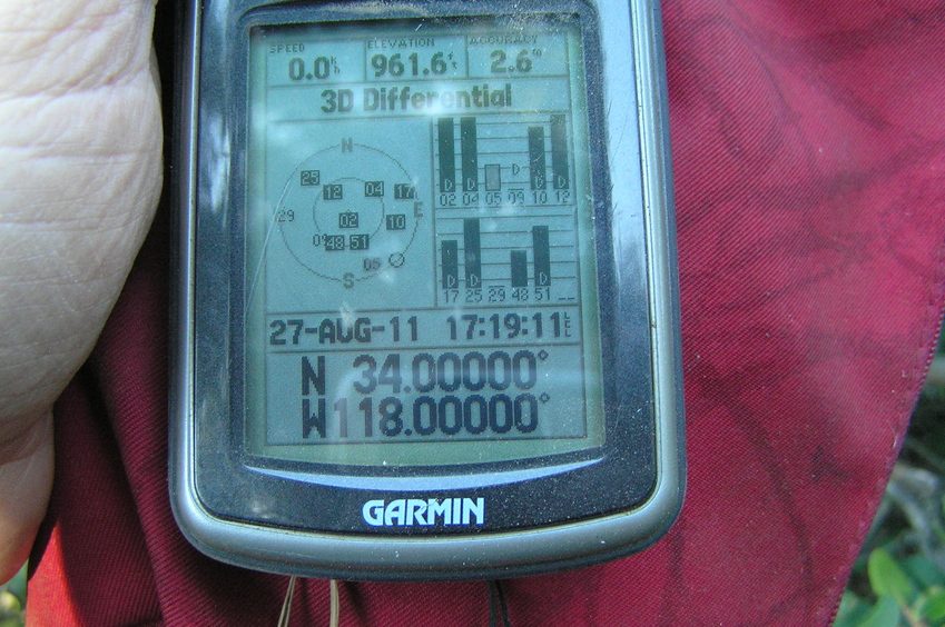 GPS reading at the confluence point after a very short confluence dance.