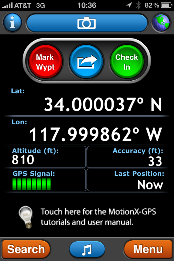 Screen from iPhone at confluence point using Motion X GPS.
