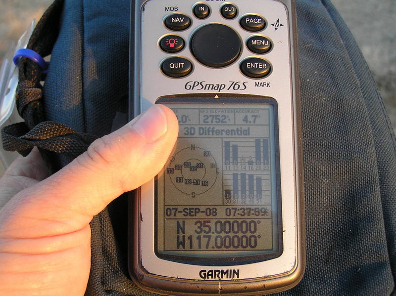 GPS reading at the confluence after a very short confluence dance.